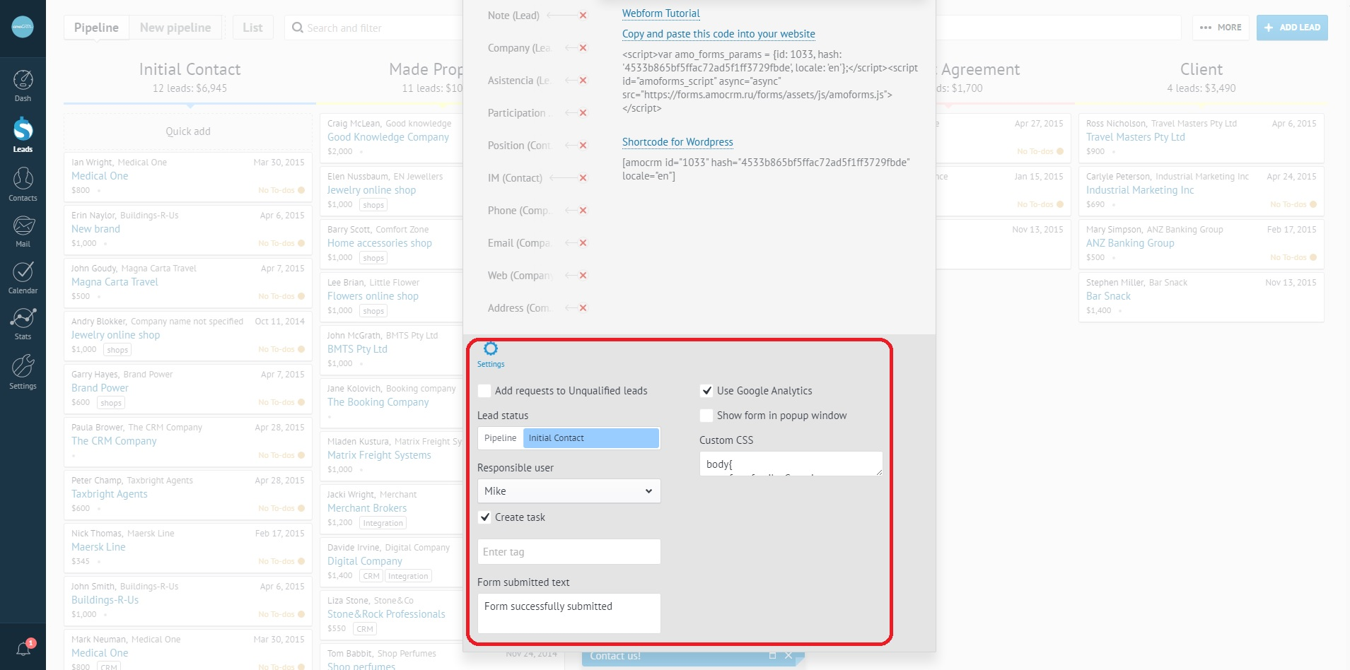 How to set up a web form – amoCRM